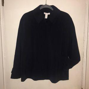 Navy Blue Polyester Coat